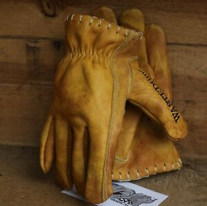 Vintage-Leather-motorcycle-gloves-Tan-Riggers-PREMIUM-harley-cruiser-cafe-racer