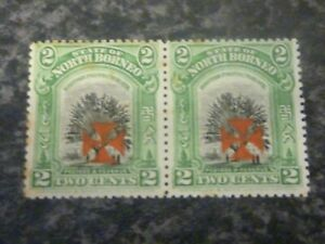 NORTH-BORNEO-POSTAGE-amp-REVENUE-STAMP-SG203-2-CENTS-PAIR-LIGHTLY-MOUNTED-MINT