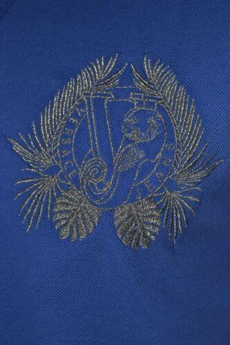 BNWT VERSACE Jeans Bleu /& Argent Brodé Polo Shirt VJ Tiger Leaf la poitrine