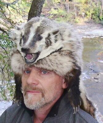 Badger mounted fur hats men women * mountain man black powder ...