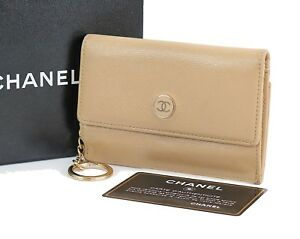 14945b40d6cd20 Image is loading Authentic-CHANEL-Beige-Leather-Small-Card-Wallet-Coin-