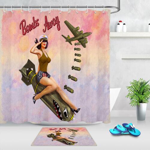 Shower Curtain Retro Pin-up Girl Sitting On The Bomb Bathroom Mat Waterproof