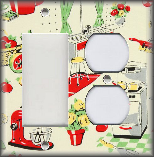Metal Light Switch Plate Cover Retro Fifties Kitchen Decor Diner Kitchen Decor