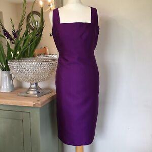 L-K-Bennett-Purple-Silk-Wool-Pencil-Evening-Cocktail-Career-Dress-UK-12-VGC