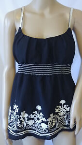 HeartSoul-Sleeveless-Top-Size-Large-Black-Embroidered-Spaghetti-Straps-Padded