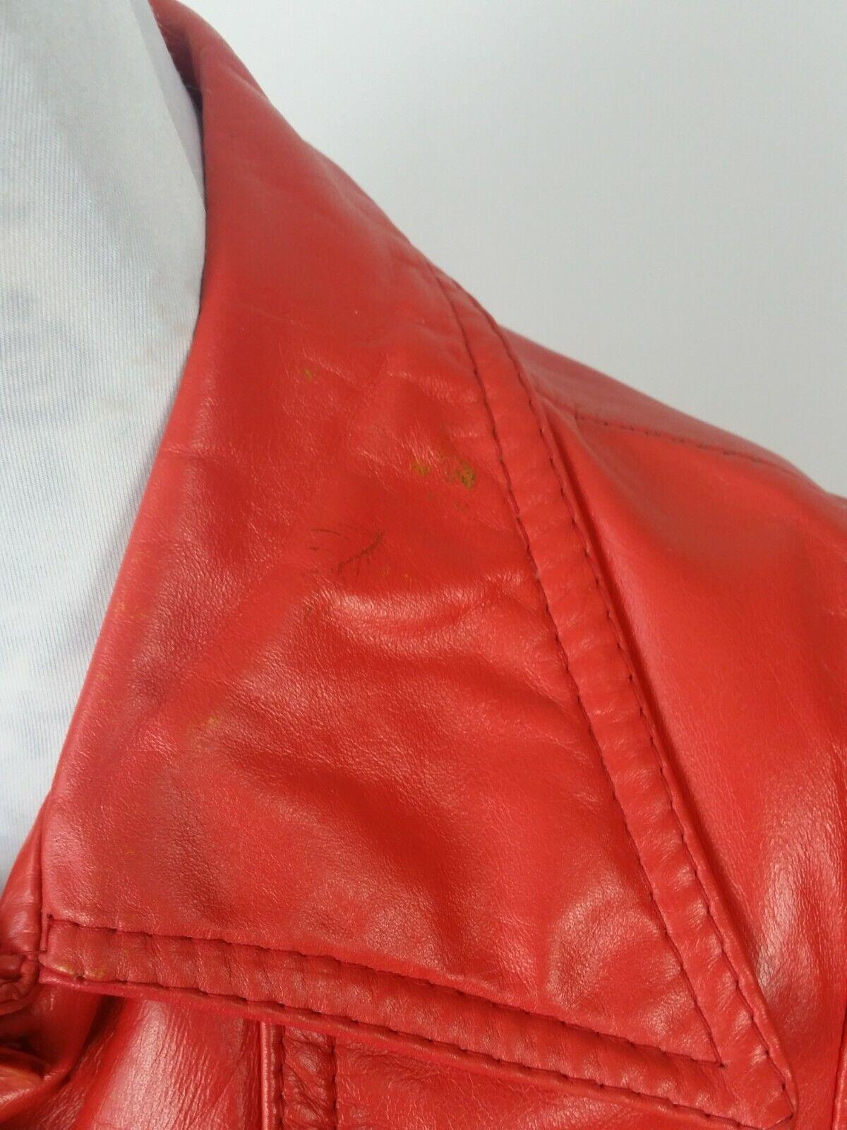 Vintage Orange Leather Womens Jacket Mod 1970s XS - image 8