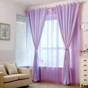 Details about Pink Purple Striped Sheer Curtain Voile Shade Cloth Window  Drape 63/84\