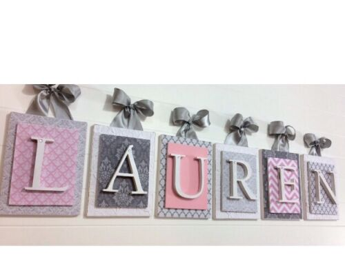 Pink and Gray Nursery,Nursery Letters,Girls Nursery Wall Art,Pink Letter 6x8