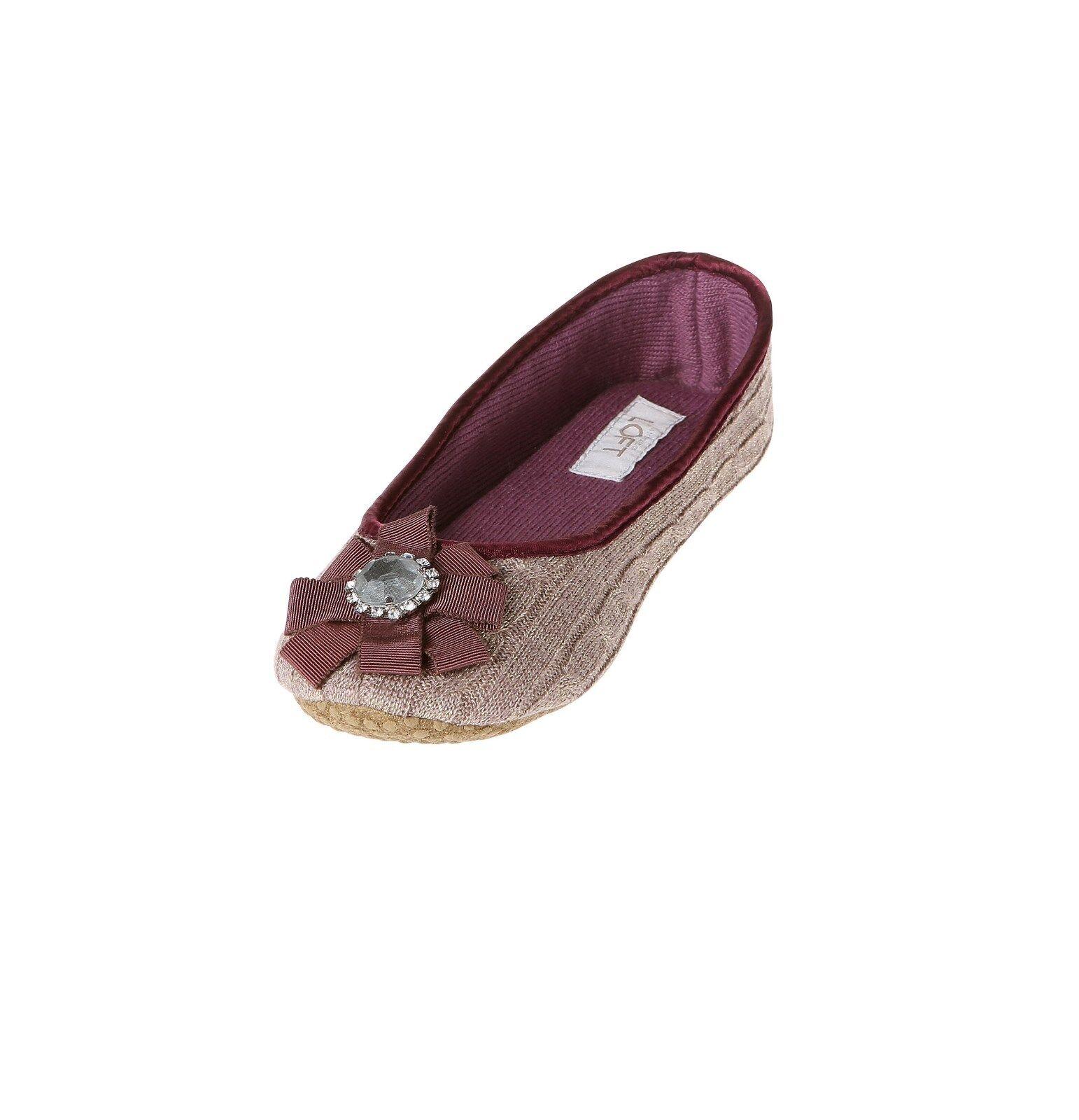 NWT Ann Taylor Loft Jeweled Ballet Slippers, Tan, XL/Size 12 #1v