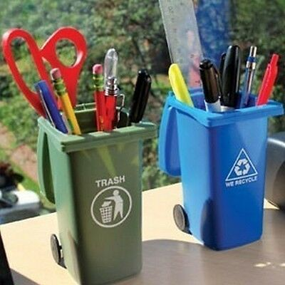 Mini Trash & Recycle Cans Set Pen And Pencil Holder With Lid Desk Organizer Gag