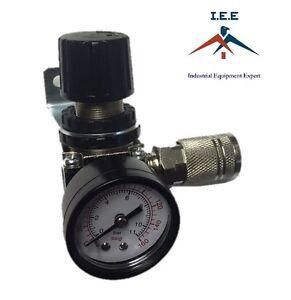 "1/4"" Air Pressure Regulator Relief with Gauge Hose Quick Release Compressor"