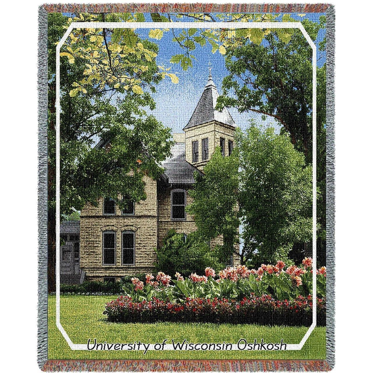 University of Wisconsin OSHKOSH Campus Stadium Tapisserie Afghan Throw Blanket