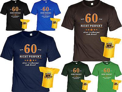 Geschenkset T-Shirt zum 60.Geburtstag Sprüche 60 Jahre Mini Flaschenshirt