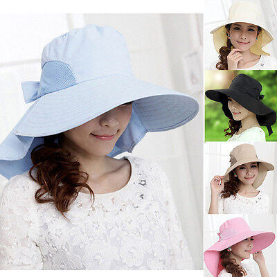 Summer Women Wide Brim Visor Roll Beach Cap Outdoor Sun Hat Neck Protective Bow