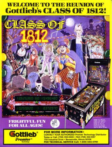 Gottlieb Premier CLASS OF 1812 Original NOS Pinball Machine Flyer Horror Theme