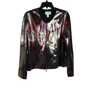 Joseph Ribkoff Womens Jacket 18 Red Gold Metallic Printed Long Sleeve Full Zip