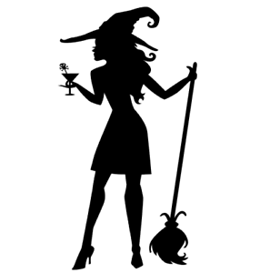 Image Is Loading Halloween Cocktail Witch Silhouette Die Cut Embellishment Cutout
