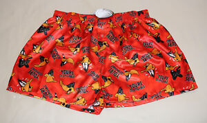 Looney-Tunes-Daffy-Duck-Mens-Red-Printed-Satin-Boxer-Shorts-Size-XXL-New