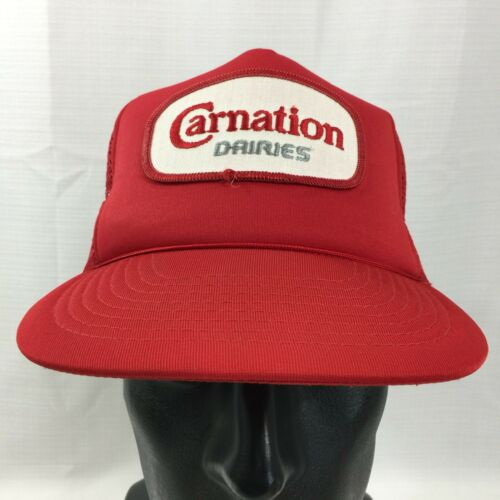 Red Carnation Dairies Snapback Trucker Hat Cap Lo… - image 1
