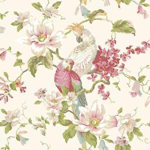 Wallpaper-Designer-Parrot-amp-Cockatoo-Tropical-Magnolia-Floral-on-Pearlized-Cream