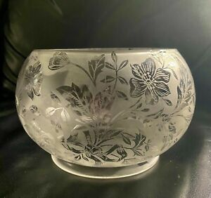 1900-s-Antique-Scalloped-Crystal-Handblown-Etched-Frosted-Glass-Lamp-Shade-5