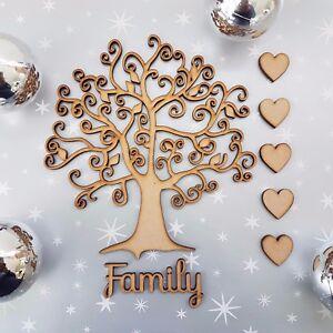 Wooden-Family-Tree-Blank-Christmas-Craft-Arts-MDF-Box-Free-Hearts-Family