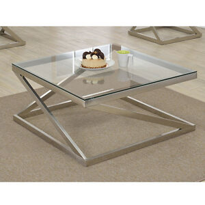 Ollie Square Cocktail Coffee Glass Table Top Z Style Brushed