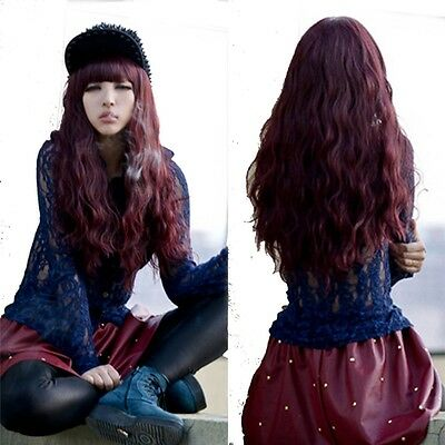 fashion curly wave wine red hair full long wigs women weave cosplay party wig