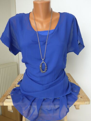 601 42-58 Kurzarm Blau Ton 2 in 1 Effekt NEU Sheego Bluse Tunika Shirt Gr