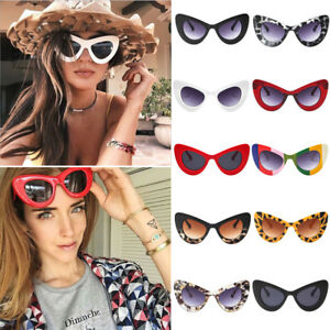 c4bebbbba3 Image is loading Women-Cat-Eye-Sunglasses-Mirrored-Shades-Eyeglasses-Retro-