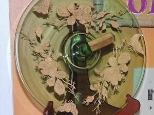 """Antique Tchèque Bohème Vert Or 10.5"""" Serving Plaque Papillon Floral Verre-afficher le titre d`origine cqCtH8wt-09161414-868301132"""