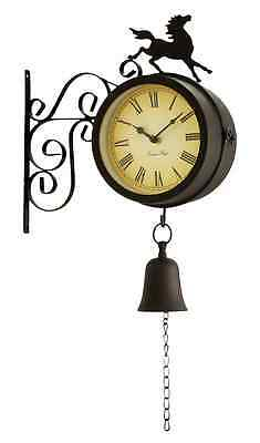 Horse Bell Outdoor Outside Bracket Clock Thermometer Garden Wall Station 15cm