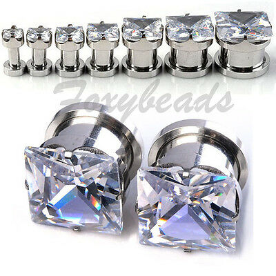 2X Square CZ Gem Crystal Stainless Screw Ear Plugs Tunnel Stretcher Expander fb