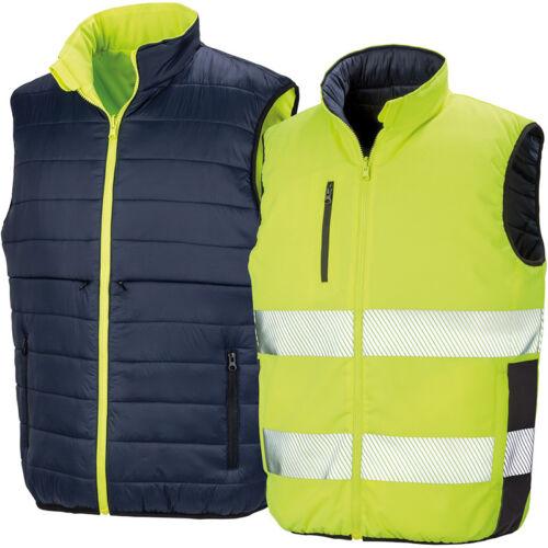 Result Safe-Guard Reversible Soft Padded Safety Gilet Hi Vis Bodywarmer R332X