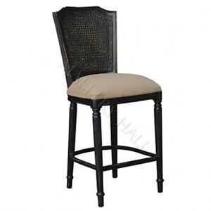 Ivy Black Distressed Cane Back Upholstered Counter Stool
