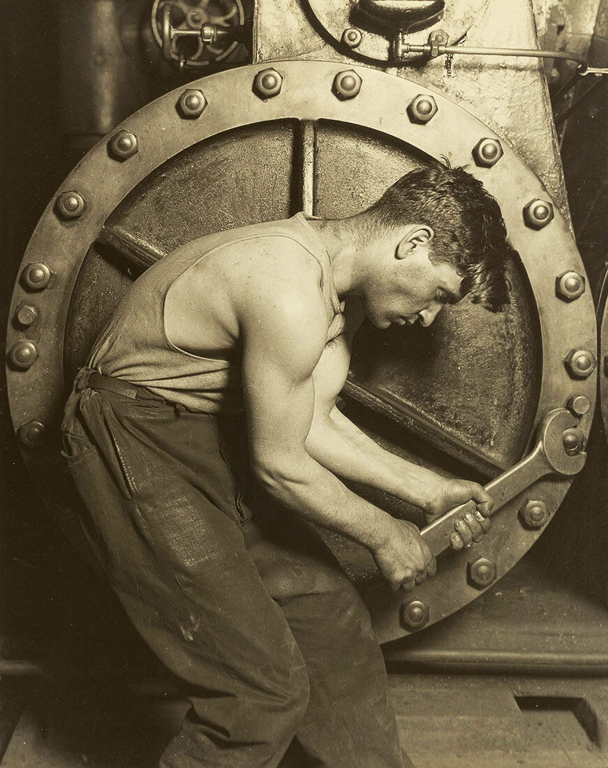 Mechanic and Steam Pump by Lewis W Hine Vintage A1+ High Quality Canvas Print