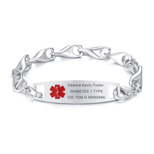 WISH BONE Chaîne Hommes Femmes Medical Alert ID Bracelet chaîne gratuit Personnalisé Gravure