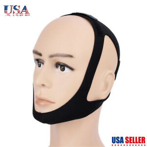 Snore Stop Belt Anti Snoring Cpap Chin Strap Sleep Apnea Jaw Solution Black NN