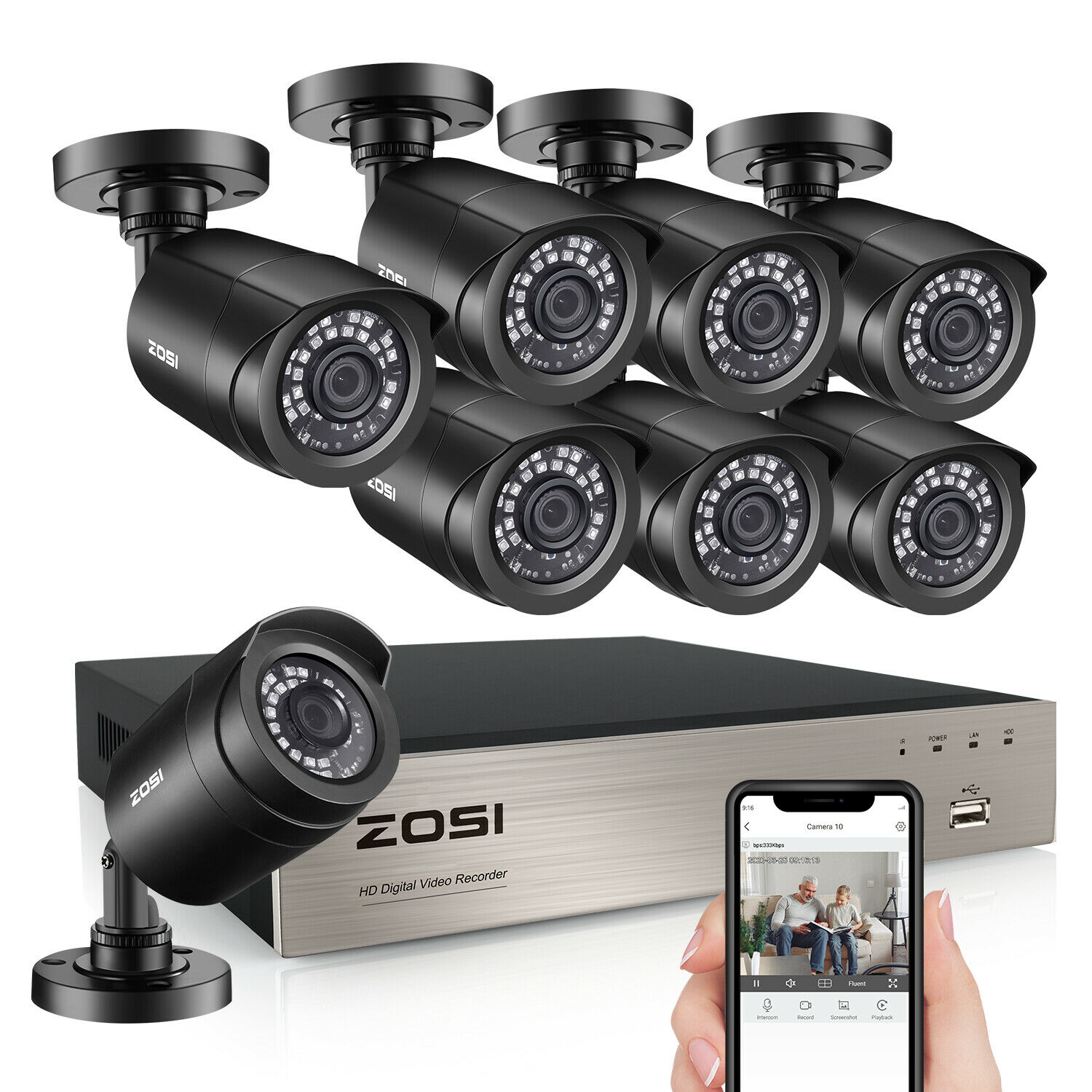 ZOSI 8CH 5MP Lite DVR 1080P Outdoor CCTV Security Camera System Kit Night Vision. Buy it now for 169.99