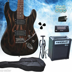 Flames-Multiple-Pickup-Electric-Guitar-With-Amp-Set