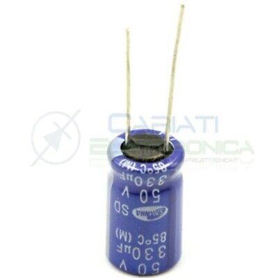 5 PEZZI CONDENSATORE ELETTROLITICO VERTICALE 220uF 50V 105° 10x13 PASSO 3,5mm