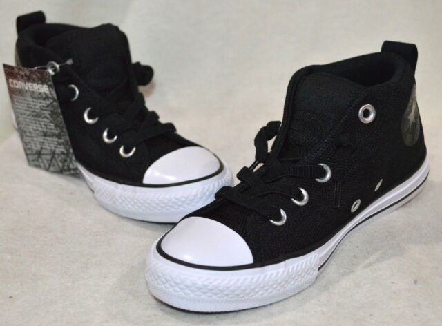 "469e0094f33d Converse ""ctas Street Mid"" Junior Black   White Basketweave SNEAKERS ..."