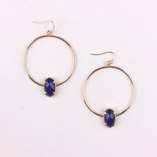 New Trendy Claw Resin Stone Oval Circle Hoop Earrings Christmas Gifts for Gilrs