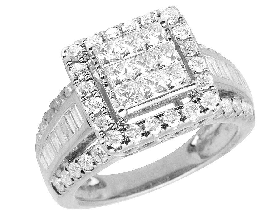 10K White gold Ladies Princess Baguette Genuine Diamond Engagement Ring 1.80ct