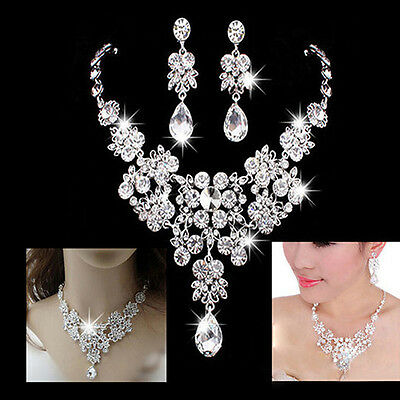 Silver Alloy Rhinestone Earrings Crystal Pendant Necklace Bridal Jewelry Sets