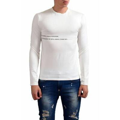 Gianfranco Ferre White Graphic Long Sleeve Stretch Men's T-Shirt Sz XS S M L XL
