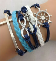 NEW Retro Infinity Cross Wheel Anchor Leather Charm Bracelet plated Silver  C212