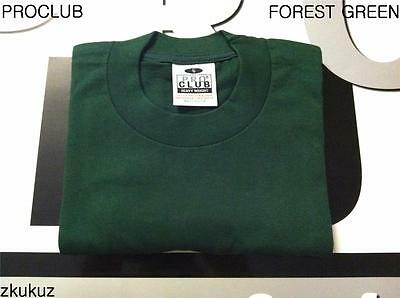 2 NEW PROCLUB S-5XLT HEAVY WEIGHT T-SHIRTS FOREST GREEN PLAIN TEE PRO CLUB BLANK