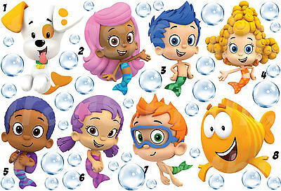 BUBBLE GUPPIES STICKER WALL DECAL OR IRON ON TRANSFER T-SHIRT FABRICS LOT BG