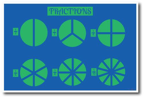 NEW Classroom Math School Educational Classroom POSTER Fractions